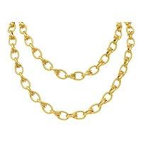 1990's Vintage Italian 18 Karat Gold 40 Inch Large Link Necklace
