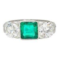 Art Deco 3.30 CTW Diamond Emerald Platinum Three Stone Ring