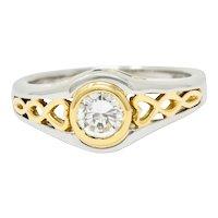 Modern 0.54 Diamond Emerald Platinum 18 Karat Gold Engagement Ring