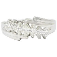 1950's Mid-Century 0.95 CTW Diamond 14 Karat White Gold Band Ring