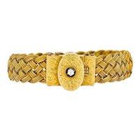 1880's Victorian Diamond 14 Karat Gold Woven Locket Bracelet
