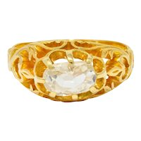 Art Nouveau 0.67 CTW Old Mine Diamond 18 Karat Gold Whiplash Ring
