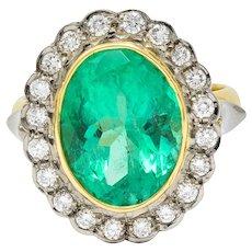 Art Deco 6.15 CTW Colombian Emerald Diamond 18 Karat Two-Tone Gold Cluster Ring GIA