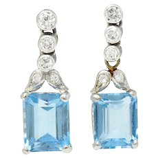 Vintage 4.95 CTW Aquamarine Diamond Platinum Drop Earrings