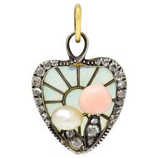 Art Nouveau Plique-A-Jour Diamond Pearl 14 Karat Gold Silver Mushroom Heart Charm
