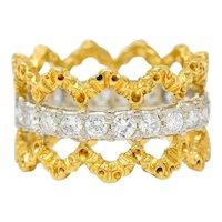 Buccellati Vintage 1.00 CTW Diamond 18 Karat Gold Italian Eternity Band Ring