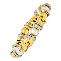 1990's Bulgari Cultured Pearl 18 Karat Gold Stainless Steel Gancio Italian Link Bracelet