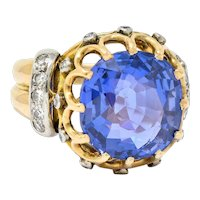 Retro 12.26 CTW No Heat Color Change Sapphire Diamond 18 Karat Gold Statement Ring