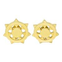 1973 Aldo Cipullo Cartier 18 Karat Gold Sunburst Ear-Clip Earrings
