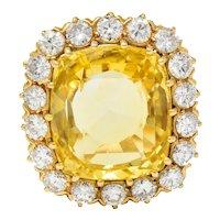 Retro 19.80 CTW No Heat Yellow Sapphire Diamond 18 Karat Gold Cluster Ring GIA