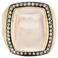 Rose Quartz Cabochon 0.75 CTW Diamond 14 Karat Gold Gemstone Ring