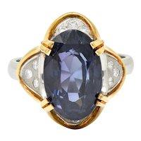 1960's Vintage 4.95 CTW Spinel Diamond Platinum 18 Karat Gold Statement Ring