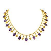 1870's Victorian Etruscan Revival Amethyst 22 Karat Gold Fringe Collar Necklace