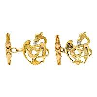 Art Nouveau Rose Cut Diamond 18 Karat Gold Phoenix Men's Cufflinks