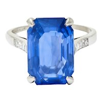 Tiffany & Co. 9.32 CTW No Heat Ceylon Sapphire Diamond Platinum Statement Ring AGL