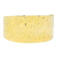 Victorian 14 Karat Gold Engraved Floral Bangle Bracelet Circa 1900