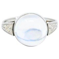 1920's Art Deco Moonstone 14 Karat White Gold Cabochon Ring