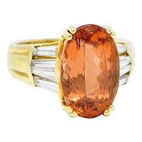 1980's Vintage 8.20 CTW Imperial Topaz Diamond 18 Karat Gold Statement Ring