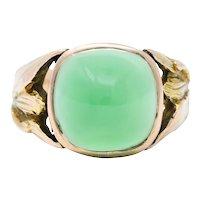 Arts & Crafts Chrysoprase 14 Karat Gold Foliate Cabochon Ring