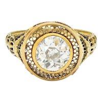 1890's Victorian 1.61 CTW Diamond 14 Karat Gold Lattice Engagement Ring GIA