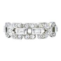 Art Deco 0.60 CTW Diamond Platinum Buckle Band Ring