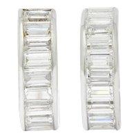 Vintage 2.75 CTW Diamond Platinum Huggie Hoop Earrings