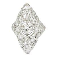 Belle Epoque 1.20 CTW Diamond Platinum-Topped 14 Karat White Gold Ribboned Dinner Ring