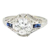 Art Deco 1.20 CTW Diamond Sapphire 14 Karat White Gold Engagement Ring