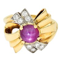 Retro 2.90 CTW Star Ruby Diamond 14 Karat Gold Bow Band Ring
