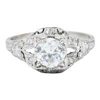 Art Deco 1.13 CTW Diamond Platinum Foliate Engagement Ring