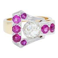 Retro 1.85 CTW Diamond Ruby 14 Karat Two-Tone Gold Buckle Band Ring
