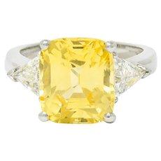 1980's Vintage 8.91 CTW No Heat Yellow Sapphire Diamond Platinum Ring GIA