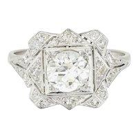 1930's Art Deco 1.40 CTW Diamond Platinum Geometric Dinner Ring GIA