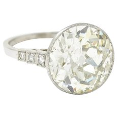 Art Deco 7.21 CTW Old European Diamond Platinum Butterfly Engagement Ring