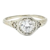 Art Deco Old European Diamond 18 Karat White Gold Heart Engagement Ring
