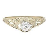 1920's Art Deco 0.48 CTW Diamond 18 Karat White Gold Foliate Engagement Ring