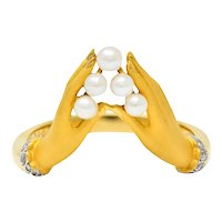 Carrera Y Carrera Pearl Diamond 18 Karat Gold Las Manos Band Ring
