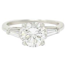 1950's Mid-Century 1.71 CTW Diamond Platinum Engagement Ring