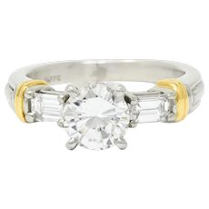 Contemporary 1.58 CTW Diamond Platinum 18 Karat Gold Engagement Ring