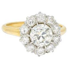 Edwardian 2.14 CTW Diamond Platinum-Topped 14 Karat Gold Cluster Engagement Ring GIA