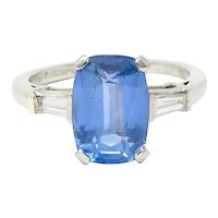 1950's Mid-Century 4.53 CTW No Heat Ceylon Sapphire Diamond Platinum Ring GIA