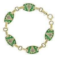 1930's Art Deco Enamel 14 Karat Gold Buddha Link Bracelet