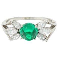 1950's Mid-Century 2.13 CTW Colombian Emerald Diamond Platinum Bow Cluster Ring AGL