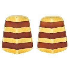 Angela Cummings Carnelian 18 Karat Gold Striped Ear-Clip Earrings