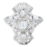 1920's Art Deco 0.85 CTW Diamond Platinum Geometric Dinner Ring