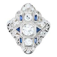 Art Deco 1.45 CTW Diamond Sapphire Platinum Dinner Ring