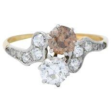 Edwardian 1.57 CTW Diamond & Fancy Diamond Platinum-Topped 14 Karat Gold Toi Et Moi Ring