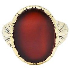 1946 Retro Sard Carnelian 14 Karat Gold Unisex Signet Ring