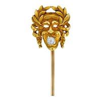 Art Nouveau Diamond 18 Karat Gold Laurel Comedy Mask Stickpin