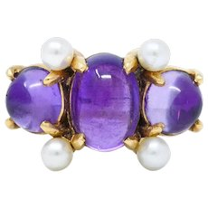 1940's Felger Amethyst Pearl 14 Karat Gold Cabochon Gemstone Ring